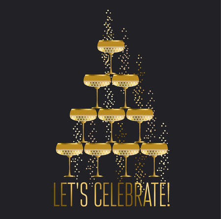 gold sparkling champagne glass pyramid flat vector illustration on night background. festive wedding wineglasses in tower design for poster, invitation and cards.  イラスト・ベクター素材