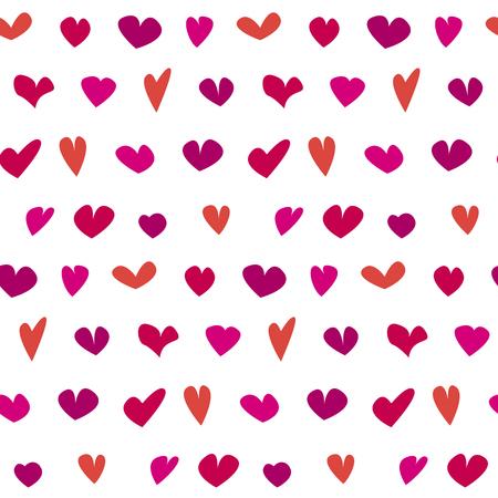 手でバレンタイン シームレスな水玉柄には、さまざまな心が描かれています。 包装紙、背景布のかわいい・ シンプル ・ ハート形状再現性のあるモ  イラスト・ベクター素材