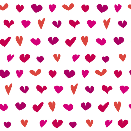 valentine seamless polka dot pattern with hand drawn assorted hearts.  simple cute heart shape repeatable motif for fabric, wrapping paper, background