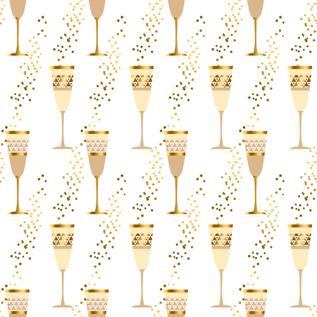 sparkling wine: elegant light seamless pattern with sparkling wine. celebration repeatable motif with golden champagne for wrapping paper, wallpaper, fabric, background.
