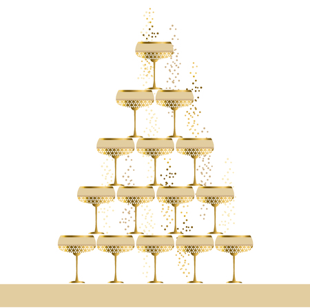 wineglasses: gold sparkling champagne glass pyramid flat vector illustration. festive wedding wineglasses in tower design for poster, invitation and cards. Illustration