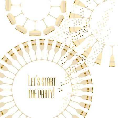sparkling wine: gold sparkling wine concept card vector illustration Illustration