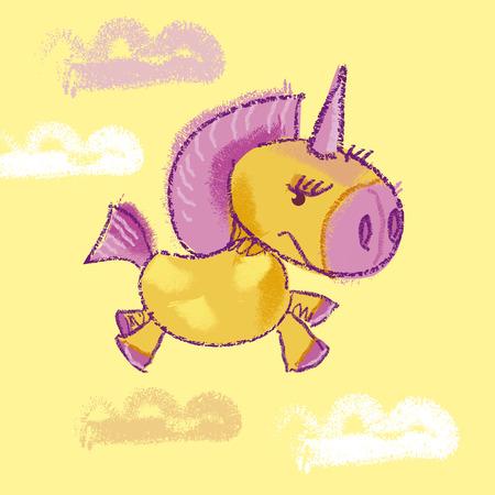 kiddy: vector illustration of kiddy unicorn in the sky Illustration