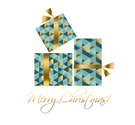 concept xmas gift box vector illustration. elegant abstract geometry pattern. present packing mosaic image Illustration