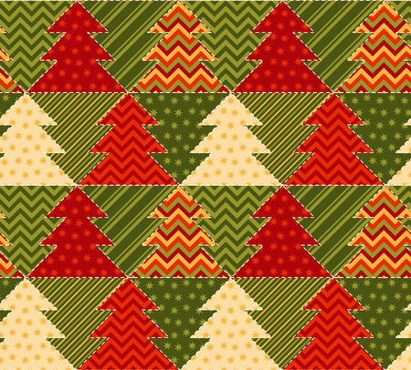 christmas motif: christmas tree green and red color abstract background in patchwork style. seamless pattern vector illustration with fir tree. repeatable peasant style patch fabric motif