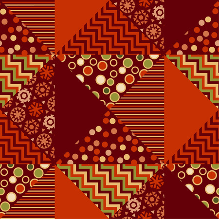 traditionary: red xmas abstract background in patchwork style. seamless pattern vector illustration. repeatable peasant style patch fabric motif