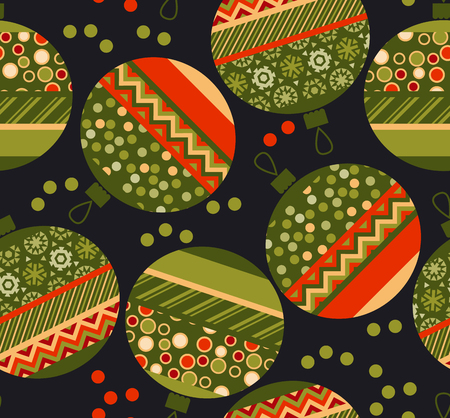 christmas motif: peasant ornament patchwork xmas bubbles seamless pattern. cosy Christmas bulbs motif with assorted fabrics. red and green abstract Christmas vector illustration. Illustration