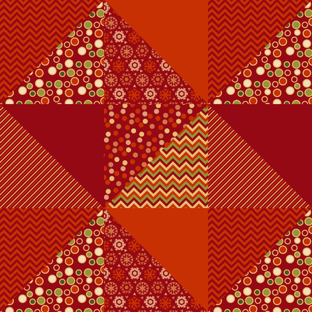 warm cloth: red xmas abstract background in patchwork style. seamless pattern vector illustration. repeatable peasant style patch fabric motif