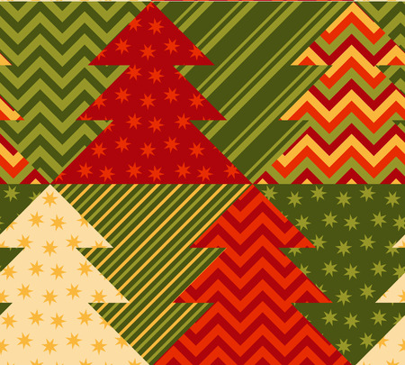 christmas motif: christmas tree green color abstract background in patchwork style. seamless pattern vector illustration with fir tree. repeatable peasant style patch fabric motif Illustration