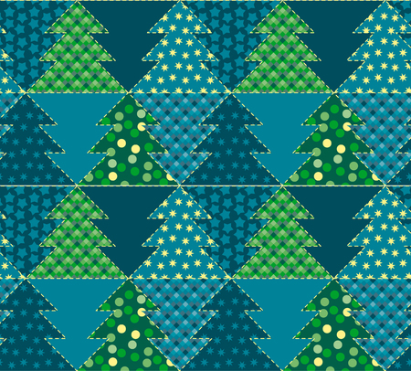hereditary: christmas tree blue color abstract background in patchwork style. seamless pattern vector illustration with fir tree. repeatable peasant style patch fabric motif