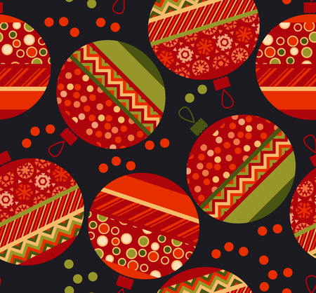 christmas motif: vivid ornament patchwork xmas bubbles seamless pattern. cosy Christmas bulbs motif with assorted fabrics. red and green abstract Christmas vector illustration.