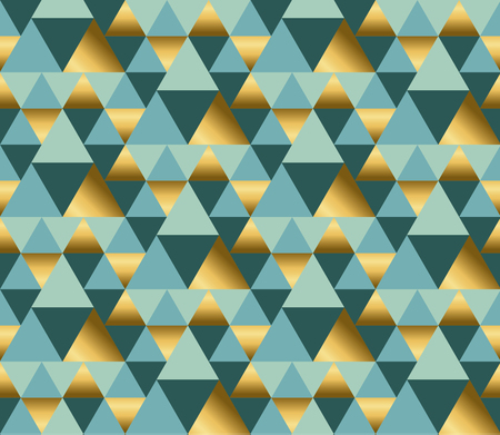 christmas motif: geometry ornament repitable pattern. Christmas elegant seamless pattern. gold and green abstract festive vector illustration. triangle textured 3d background motif
