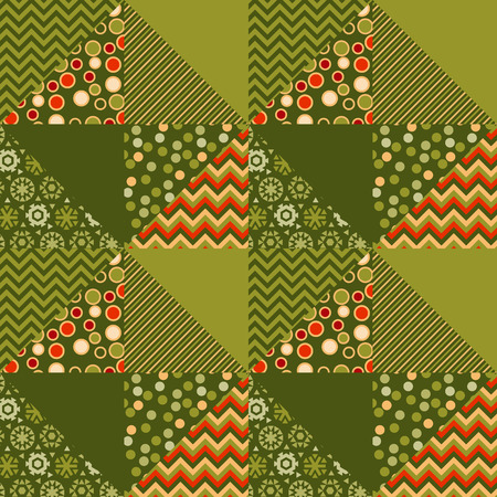 christmas motif: green traditional ornament patchwork pattern illustration. seamless repeatable motif of assorted fabrics. red and green abstract Christmas vector background.