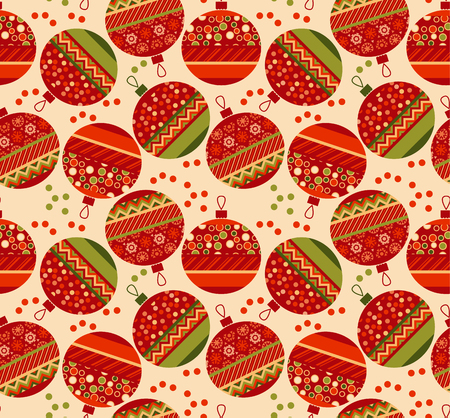 christmas motif: vintage ornament patchwork xmas bubbles seamless pattern. cosy Christmas bulbs motif with assorted fabrics. red and green abstract Christmas vector illustration.