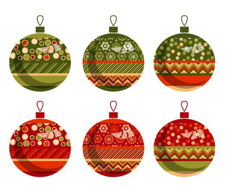 traditional ornament patchwork xmas bubbles illustration. cosy Christmas bulbs motif with assorted fabrics. red and green abstract Christmas vector element.
