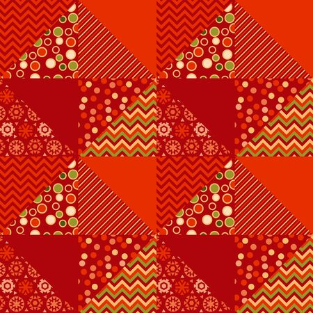 christmas motif: red color traditional ornament patchwork pattern illustration. seamless repeatable motif of assorted fabrics. red and green abstract Christmas vector background.