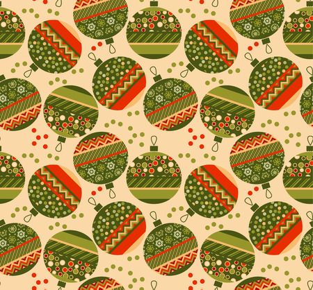 christmas motif: cute ornament patchwork xmas bubbles seamless pattern. cosy Christmas bulbs motif with assorted fabrics. red and green abstract Christmas vector illustration.