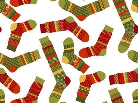 Christmas striped socks in patchwork style. Xmas seemless vector pattern. Peasant style fabric for warm xmas greetings. roostic folk-style repitable motif
