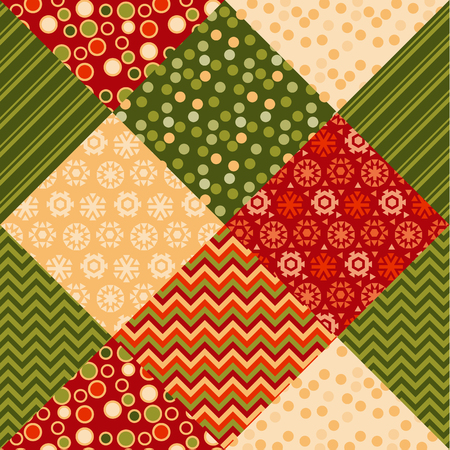 christmas motif: traditional ornament patchwork pattern illustration. seamless repeatable motif of assorted fabrics. red and green abstract Christmas vector background.