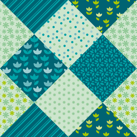 pale spring color tulip flower and geometry motif patchwork. simple assorted patch vector illustration design. seamless background for wrapping paper or fabric 矢量图片