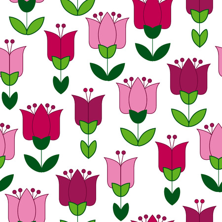 red and pink color abstract tulip flower motif. vector illustration design in folk rustic Holland style. seamless background for wrapping paper or floral rustic fabric Illustration