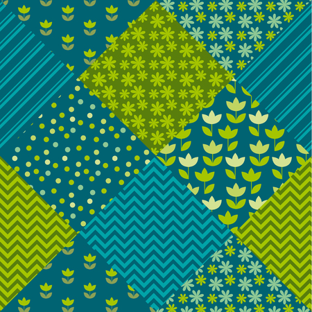 clout: blue and green color tulip flower and geometry motif patchwork. simple assorted patch vector illustration design. seamless background for wrapping paper or fabric Illustration