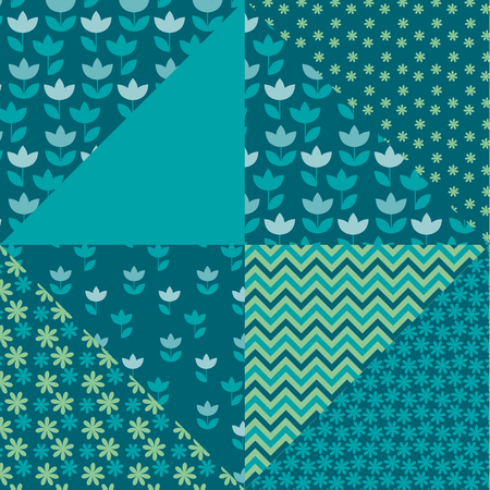 clout: bright spring color tulip flower and geometry motif patchwork. simple assorted patch vector illustration design. seamless background for wrapping paper or fabric