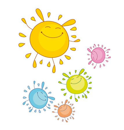 awkward: tender color sun funny mascot. bubble shape sun rabbit or bunny. simple vector illustration design for kid projects. Illustration