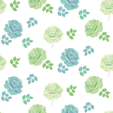 green flowers: tender spring roses vector illustration. abstract pale blue and green color floral design repeatable element. Seamless pattern for fabric or wrapping paper and backround Illustration