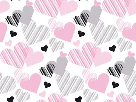 expansive: Heart shape modern seamless pattern vector illustration in geometry style. Pale pink color love concept icon repeatable motif for wrapping paper or background. Illustration