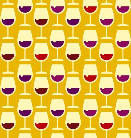 broadside: Restaurant wine bar seamless pattern with wine glass. Seamless wineglass background vector illustration