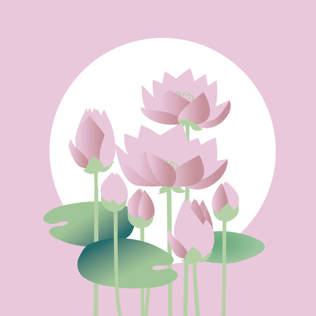 tender elegant white water floral vector illustration for invitation, greeting, poster. water lily, lotus flowers in nature stylized image. Illustration