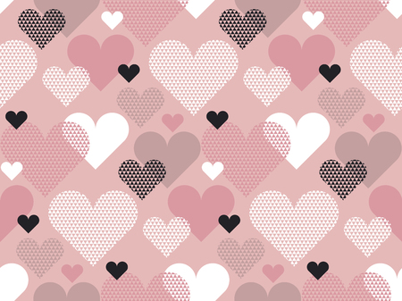 Heart shape modern seamless pattern vector illustration in geometry style. Pale pink color love concept icon repeatable motif for wrapping paper or background. Illustration