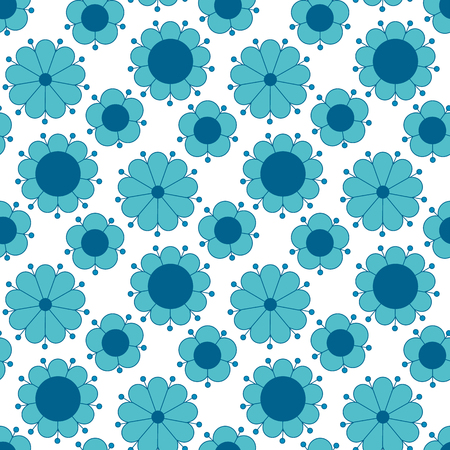 peasant style simple floral pattern on blue color. naive traditional nostalgic flower seamless pattern vector illustration for fabric, background, wrapping paper on white background Illustration