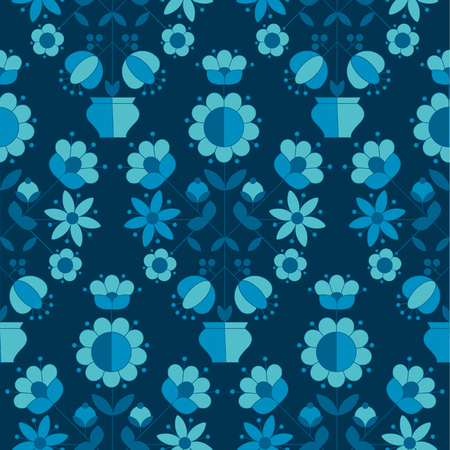 peasant style simple floral pattern on blue color. naive traditional nostalgic flower seamless pattern vector illustration for fabric, background, wrapping paper on deep blue background