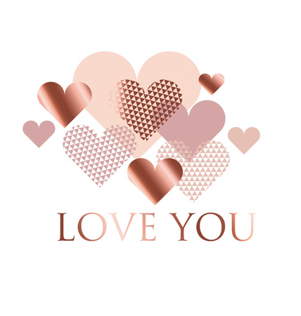 Pink and White geometry Hearts Vector Illustration. Valentines Day Greeting Banner Isolated on White Background. . Romantic luxury elegant Design for cards and wedding invitation.