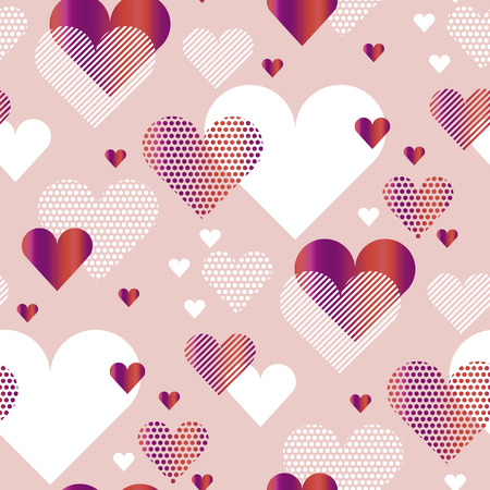 Ilustración del vector del concepto del corazón del amor del color rosado pálido para el contexto. patrón sin costuras abstracto estilizado simple para el fondo, papel de regalo, tela