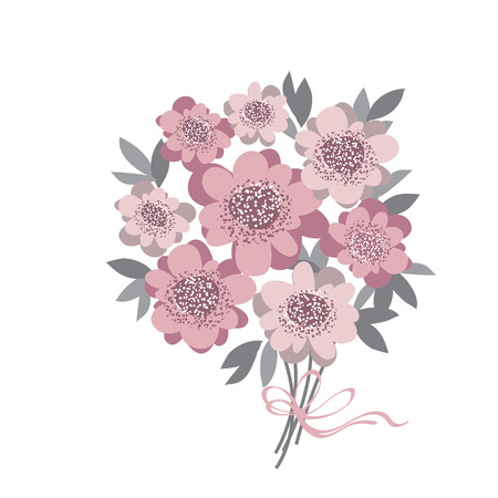 abstract stylized floral. abstract wedding bouquet  with rosy color camellia with gray leaves. vector illustration for invitation, greetings, cards. elegant flower bunch Illustration