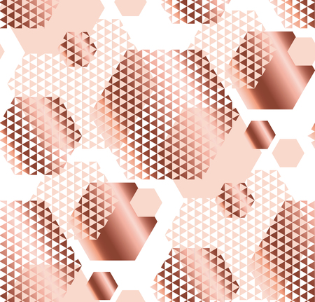 Pale rose and white color elegant repeatable motif with triangles and hexagon form for wrapping paper or fabric. Modern digital seamless pattern vector illustration in geometry style.