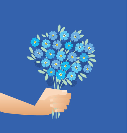 blue tender forget-me-not  flowers in retro style. elegant naive floral design element for invitation, card, poster, greetings, wedding. Illustration