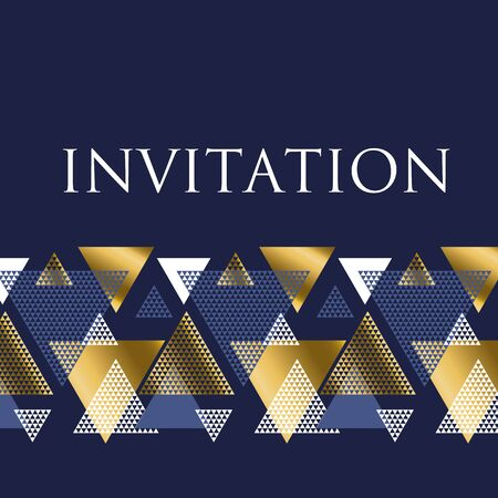Geometry motif in art deco luxury vector illustration. Abstract triangle complex mosaic design element for header, celebration invitation, elegant card.