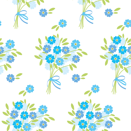 blue tender  flowers in retro style. elegant naive floral seamless pattern for fabric, poster, wrapping paper, wedding.