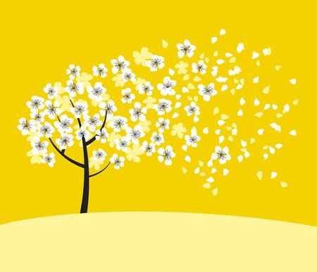 white sakura tree blossom on sunny yellow background. elegant naive spring floral design element for invitation, card, poster, greetings, wedding.