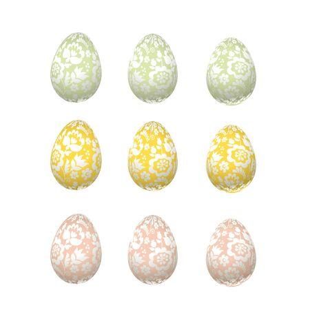 ecru: Easter egg luxury decoration vector illustration. floral elegant style decor on christian resurrection symbol. spring life icon in chick feminine decorative style Illustration