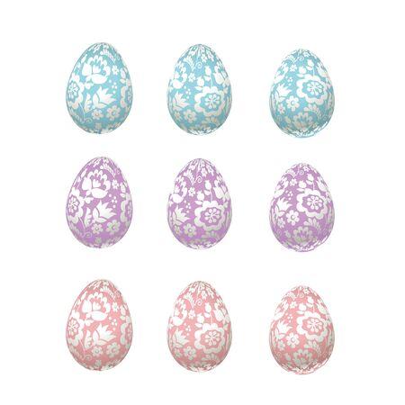 ecru: Easter egg pale color luxury decoration vector illustration. floral elegant style decor on christian resurrection symbol. spring life icon in chick feminine decorative style