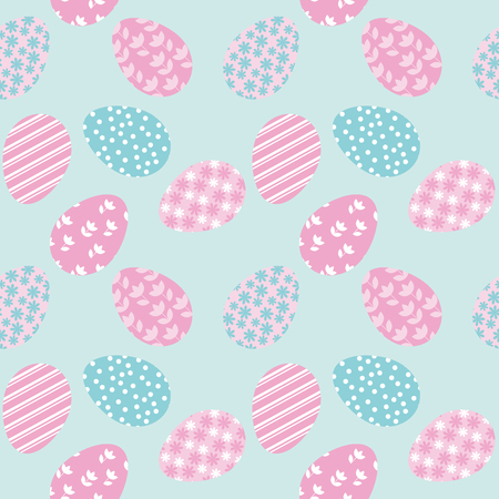 teeny: Seamless pattern with white Easter eggs and polka dots or confetti on white background. Vector illustration. spring repeatable motif for fabric, wrapping paper,  cards
