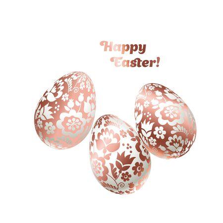 prestigious: pale shiny metal Easter egg decoration vector illustration. floral elegant style decor on christian resurrection symbol. spring life icon in chick feminine decorative style