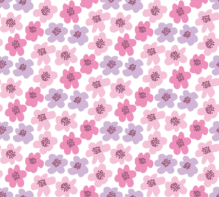 Summer floral vector illustration in retro 60s style
