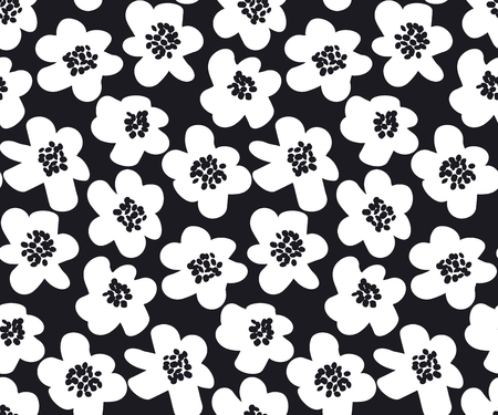 Black and white summer floral vector illustration in retro 60s style
