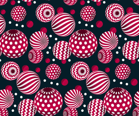 ruby: circle red beads on black background. creative modern geometry style seamless pattern for wrapping paper, music poster, flyers, backdrop. contemporary repeatable geometric motif inspired by Ukraine traditional stile